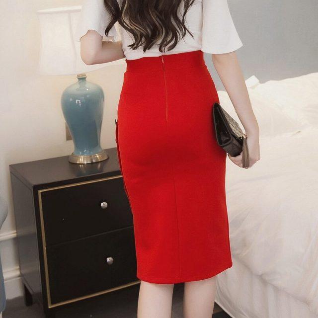 2019 Autumn Winter New Elegant Sexy Bodycon Slim Button Split Slit High Waist OL Women Pencil Skirt Office Plus Size W614