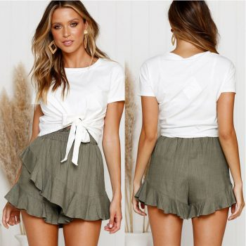Fashion Women Solid Ruffles Ruched Elastic Waist Short Pants Skirt Solid Mini dress high quality 2019 summer W618