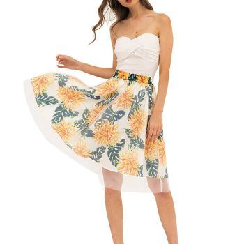 Ladies Casual Floral Tulle Skirt  Faldas Mujer Moda 2019 Screen Printed Pleated Half-Height Waist A-Shaped Skirt W612