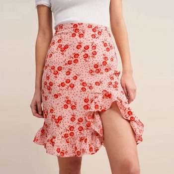 women clothes 2019 Fashion summer skirts high waist skirt sexy skirt Flower Printed Ruffles korean skirt Casual Wear W612