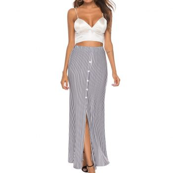Fashion Women Skirt Summer Sexy Tight Striped Print Buttons Open Fork Casual Ankle-Length Long Skirts Woman Faldas W618