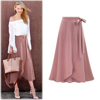 Ruffles Bandage Plus Size Skirt Women High Waist Irregular Split Pleated Skirts Solid PinK Cotton Office Skirt Clothes W613