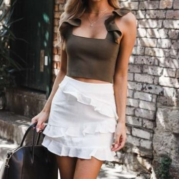 2019 Trendy Simple Solid Color Ruffled Skirt Women's Sexy Party High Waist Lace-up Hip Long Skirt harajuku W613
