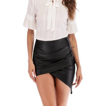 High Waist Black PU Leather Skirts Womens Wrap Pencil Sexy Summer Asymmetrical Mini Skirt 2019 For Women W612