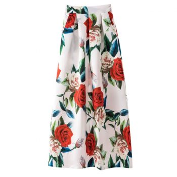 Ladies Spring And Summer Print Long Skirt Woman Fashion 2019 Casual faldas mujer moda Skirt Retro Vintage Big Skirt  W614