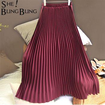 Sheblingbling Women Long Skirt Spring Summer Stretchy High Waist Maxi Pleated Skirt Ankle Length Elegant Female Casual Skirts