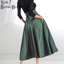SheBlingBing Swing Skirts  Spring Summer Fashion Solid Color High Waist Maxi Skirts Double Pocket Lace-Up Women A-Line Skirt
