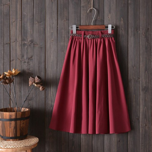 Elastic High Waist Pleated A-line Skirt Female 2019 Fashion Korean Ladies Midi Knee Length Cotton Summer Skirt Women With Belt
