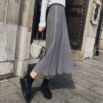Winter Knitted Long Pleated Skirt Women 2019 High-waist Maxi Skirts Womens Faldas Largas Mujer Long Black Skirt Falda Mujer