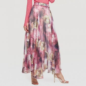 Puls Size High Quality Elegant Bohemian Irregular Print Long Skirts Womens Maxi Skirt Summer Ruffle Beach Skirt Women Jupe Femme