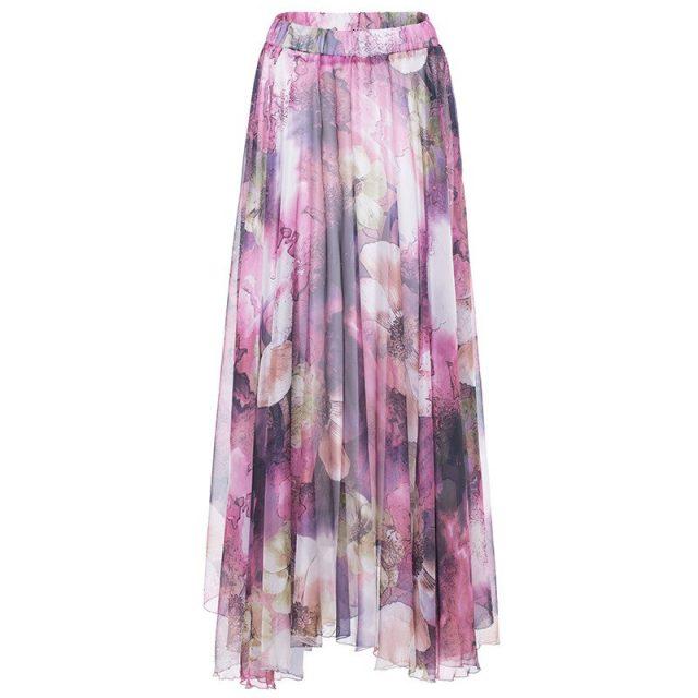 Puls Size High Quality Elegant Bohemian Irregular Print Long Skirts Womens Maxi Skirt Summer Ruffle Beach Skirt Women Jupe Femme