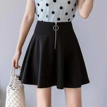 S-2xl Zipper Black Pleated Mini Skirt Women 2019 Slim High-waist Umbrella Women Plus Size Skirts Slim A-line Summer Skirt Women