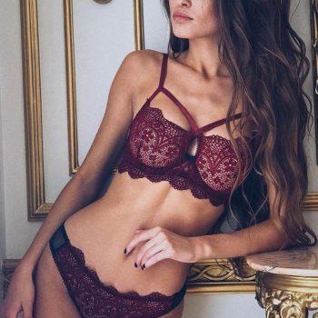 Sexy Bra Lace Transparent Unlined Bralette Wire Free Thin Mesh Women Panties Underwear Women Push Up Lingerie Set 2019