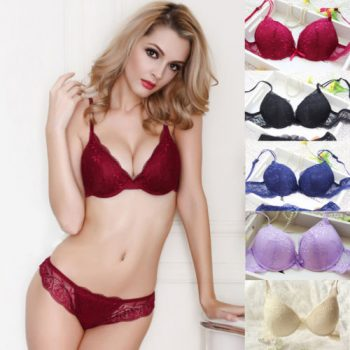 HIRIGIN Newest Women's Push Up Embroidery Sexy Lace Floral Bra Sets Panties Underwear 5 Colors