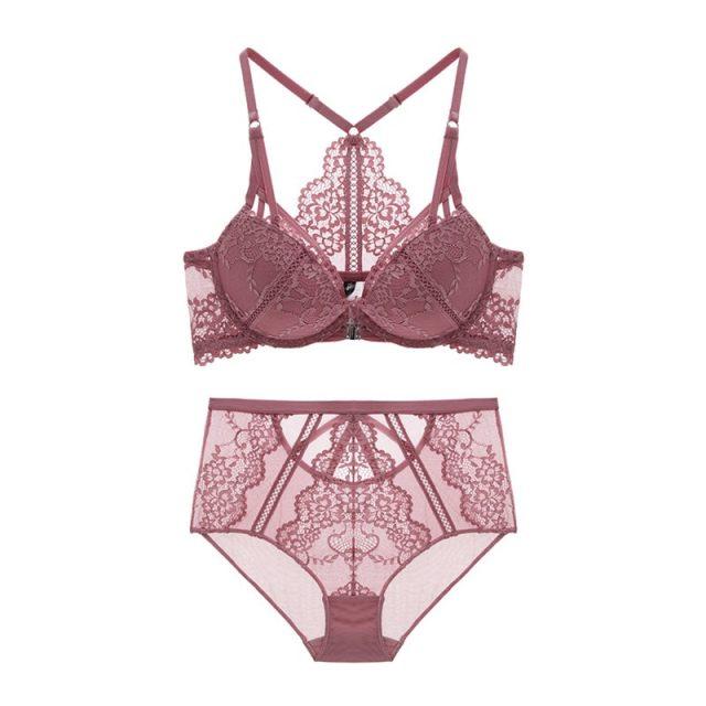 Varsbaby women' sexy floral lace front closure underwear Y-line straps bra sets