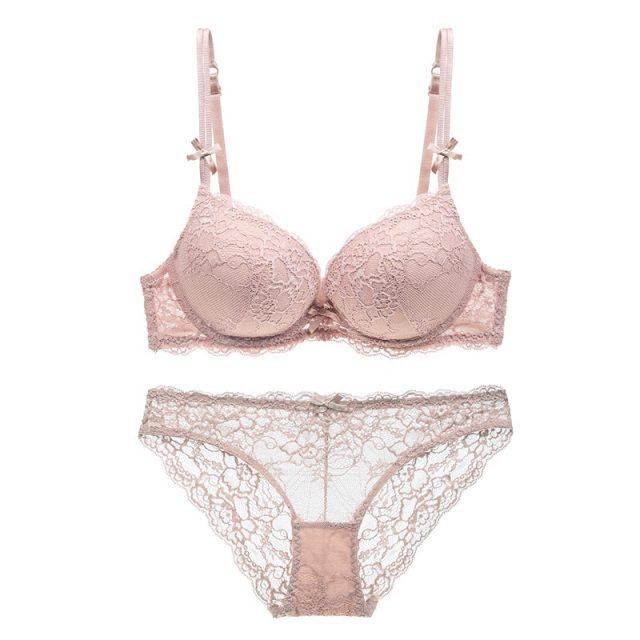 Varsbaby gathered lace sexy push up solid bra set women underwear