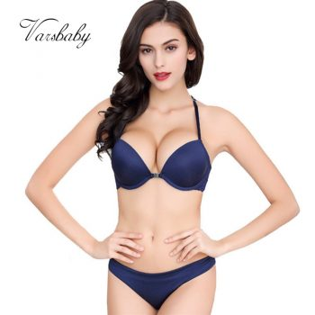 Varsbaby Sexy Front Closure Y-line straps Deep V Push Up Women Bra Set