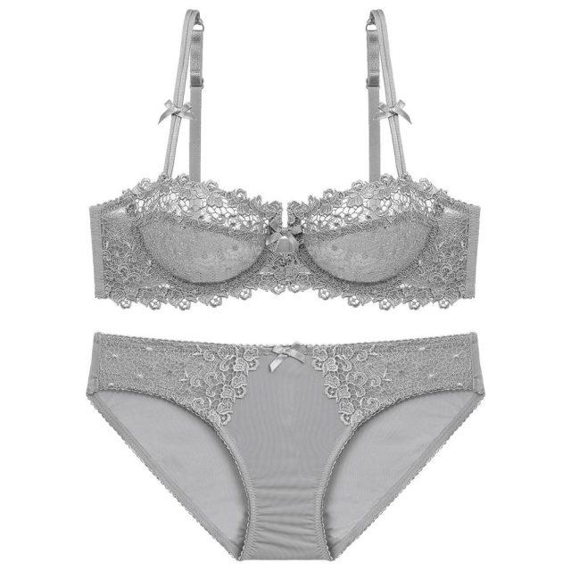 Varsbaby Women Sexy Transparent Lace Floral Lingerie Underwire Ladies Unlined Bra Sets