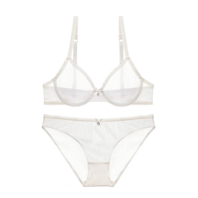 Varsbaby new ultra-thin mesh lace sexy lingerie women transparent gather bra sets