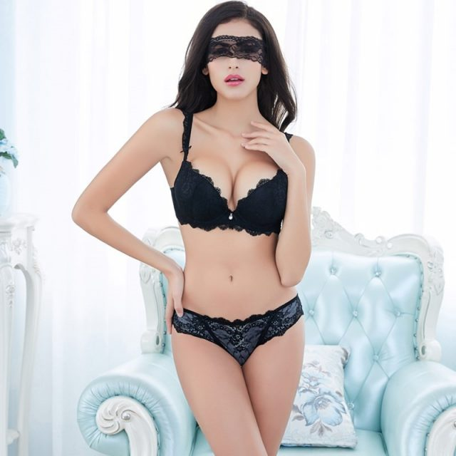 New Europe Girl Sexy Lace Bra Set Gather Adjustable Underwear Sets For Women A B C Cup