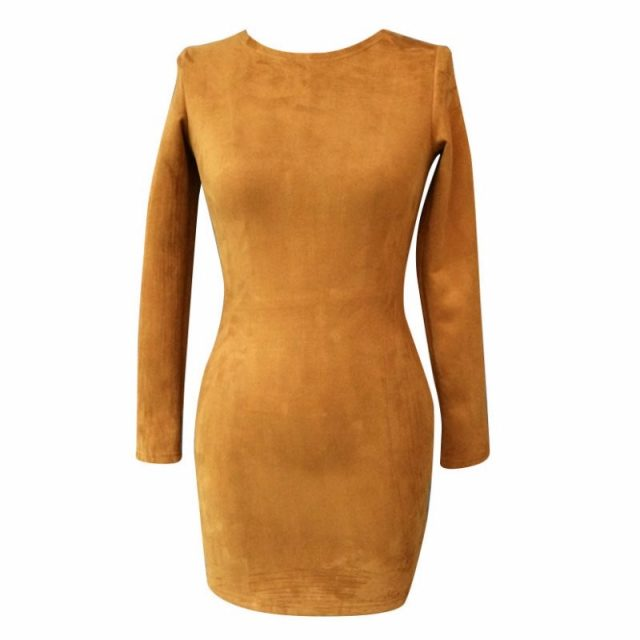 2019 Long Sleeve Slim Party Dress Sexy Club Brown Vestido Women Winter Dresses Kylie Jenner Skin Tight Faux Suede Bodycon Dress