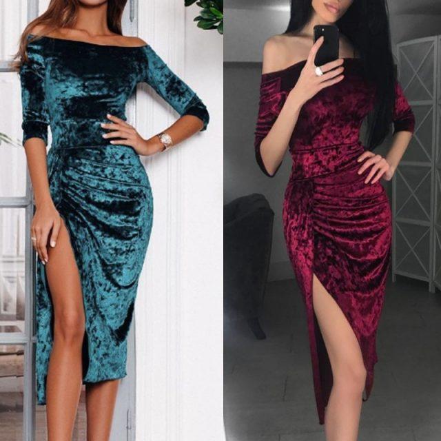 Womens Off Shoulder Dress Ladies Sexy High Slit Velvet Bodycon Evening Party Pencil Midi Dress vestidos verano 2019 New