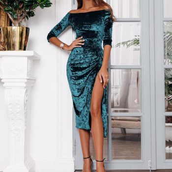 Womens Off Shoulder Dress Ladies Sexy High Slit Velvet Bodycon Evening Party Pencil Midi Dress vestidos verano 2019 New