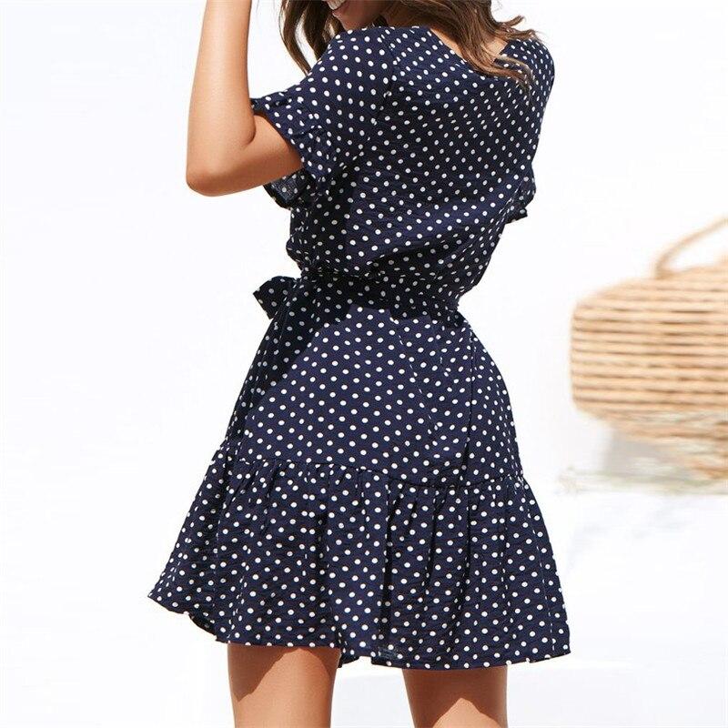 Women Summer Beach Chiffon Dress Casual Short Sleeve Polka Dot Dress Boho Mini Party Dress Elegant V Neck Sundress Vestidos
