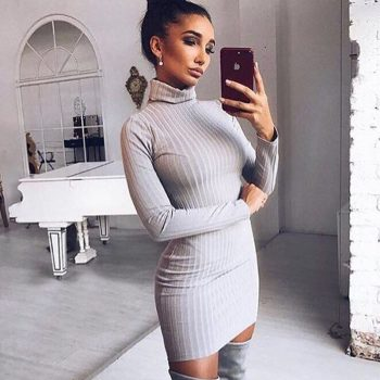 2019 New Vestidos Autumn Winter Women Sweater Dress Rib Solid Color Slim O-Neck Long-Sleeved Casual Long Knit Dress