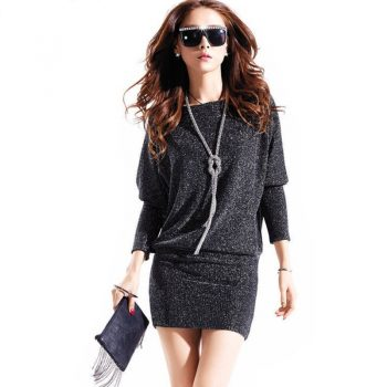Spring autumn dress women dress cute casual active sexy dress wild slim Elegant long sleeve Plus size Batwing sleeve Sequins