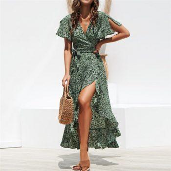 Summer Beach Maxi Dress Women Floral Print Boho Long Chiffon Dress Ruffles Wrap Casual V-Neck Split Sexy Party Dress Robe Femme