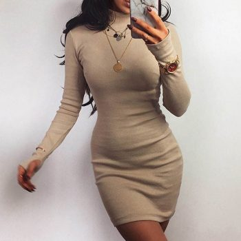 2019 Winter Solid Dress Women Sexy Night Club Bodycon Turtleneck Warm Solid Color Dress Tight buttocks Mini Dress Size S-XL