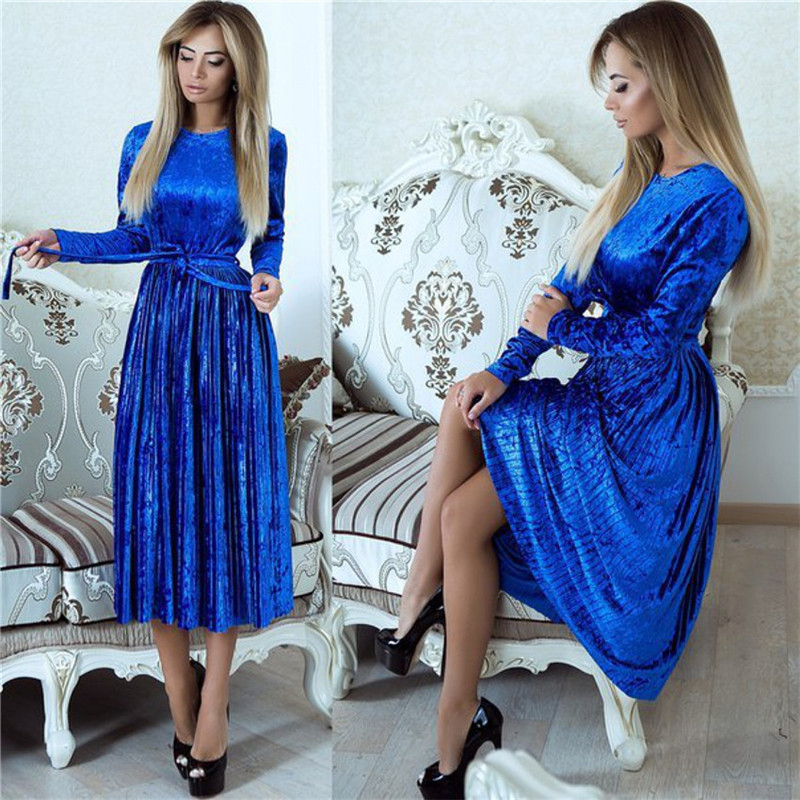 Women 2019 Autumn Winter Robe Velours Elegant Vintage Velvet Belted Solid Long Sleeve Club Party Pleated Dress With Sashes