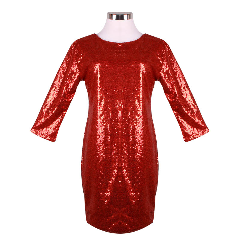 2019 New Autumn Spring Style Dress Women O Neck Long Sleeve paillette Sequins Backless Bodycon Slim Pencil Party Dresses