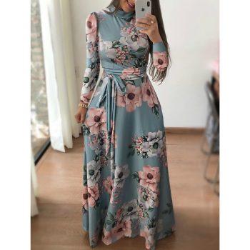 Women Fit and Flare Spring Autumn Dress Bohe Floral Print Stand Neck Floral Dress Elegant High Waist Women Long Dresses