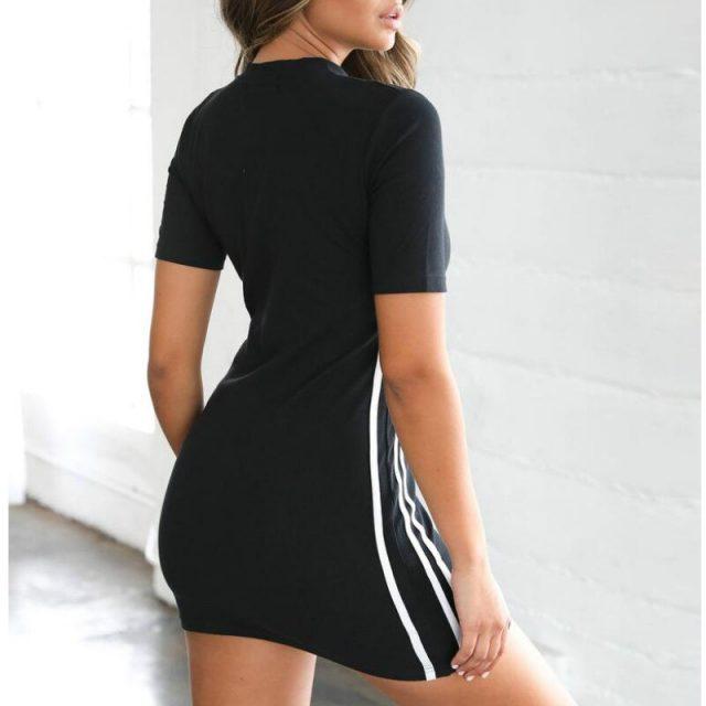 Womens Summer Casual Zipper Short Sleeve Bodycon Mini Dresses