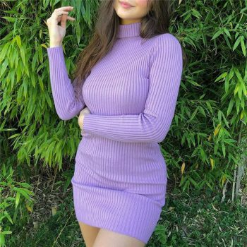 Fashion Long Sleeve Turtleneck Knit Dress Solid Color Mini Pencil Dress for Women