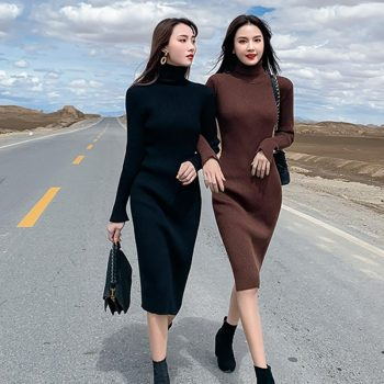 New Winter Sexy Dress Women Turtleneck Solid Color Dresses Knit Mid-long Slim Women Dress Vestidos De Fiesta De Noche