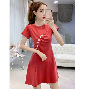 Sexy Temperament Women Dress Solid Color Wild Round Collar  Strap Waist Slim Shirts Short Sleeve Pleat Casual Female Dress