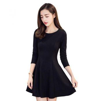 Elegant Dress Women Retro Round Collar Long Sleeve Dresses Solid Color High Waist Long Casual Dress Vestidos