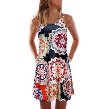 Beach Style New Summer Dress Fashion Spaghetti Strap Dress Women Dress Sleeveless Casual Floral Print Dress Dress
