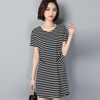 Women Summer Beach Dress Plus Size 2019 Simple Black White Striped Short Sleeve O-Neck Print Dresses Casual Mini Style Dress