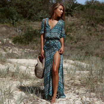 Single Breasted Autumn Dress Women Fashion Beach Striped Floral Print Slim Fringe V-neck Half Sleeve vestidos Female