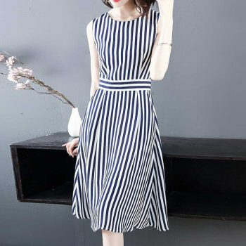Women's Dresses Striped Print Sleeveless Dress Office Lady Style 2019 Summer New Casual Loose Long Pleated Dresses Vest Dress