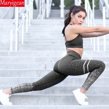 Maryigean 2019 Women Gold Print High Waist Leggings No Transparent Exercise Fitness Leggings Patchwork Push Up Female Pants