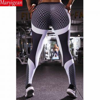 Maryigean Mesh Pattern Print Leggings Fitness Leggings For Women Sporting Workout Push Up Leggins Elastic Slim High Waist Pants