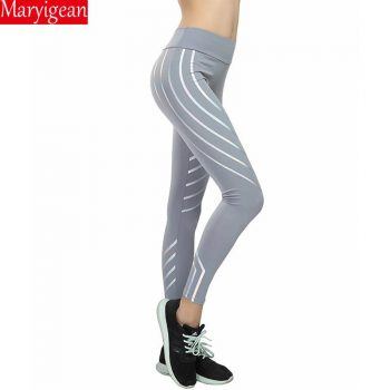 Maryigean Srtriped Printed Leggings Slim Fitness Women Sexy Black Mesh Yoga Pants Gym Running High Waist Leggings Workout 2019