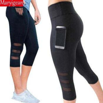 Maryigean Fitness Women Leggings Push up Women High Waist Pocket Workout Leggings 2019 Fashion Black Mesh Patchwork Leggings