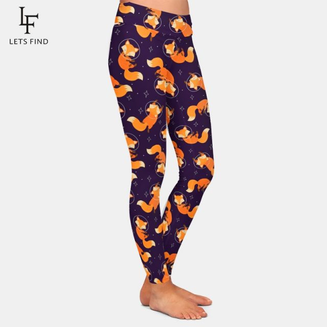 Fashion Cartoon Fox Print Girls Leggings High Waist High Elastic 220gsm Double Side Brushed Milk Silk Plus Size Women Leggings