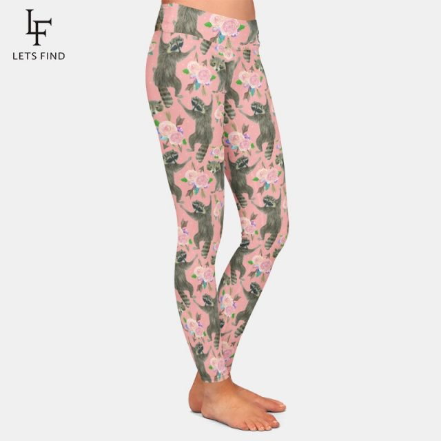 LETSFIND New 3D Cartoon Raccoon and Flowers Printing Pink Pants Fashion High Waist Women Comfortable Casual Legging Plus Size